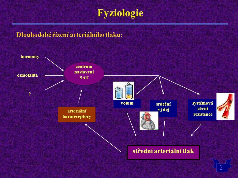 Fyziologie Dlouhodobé řízení arteriálního tlaku: