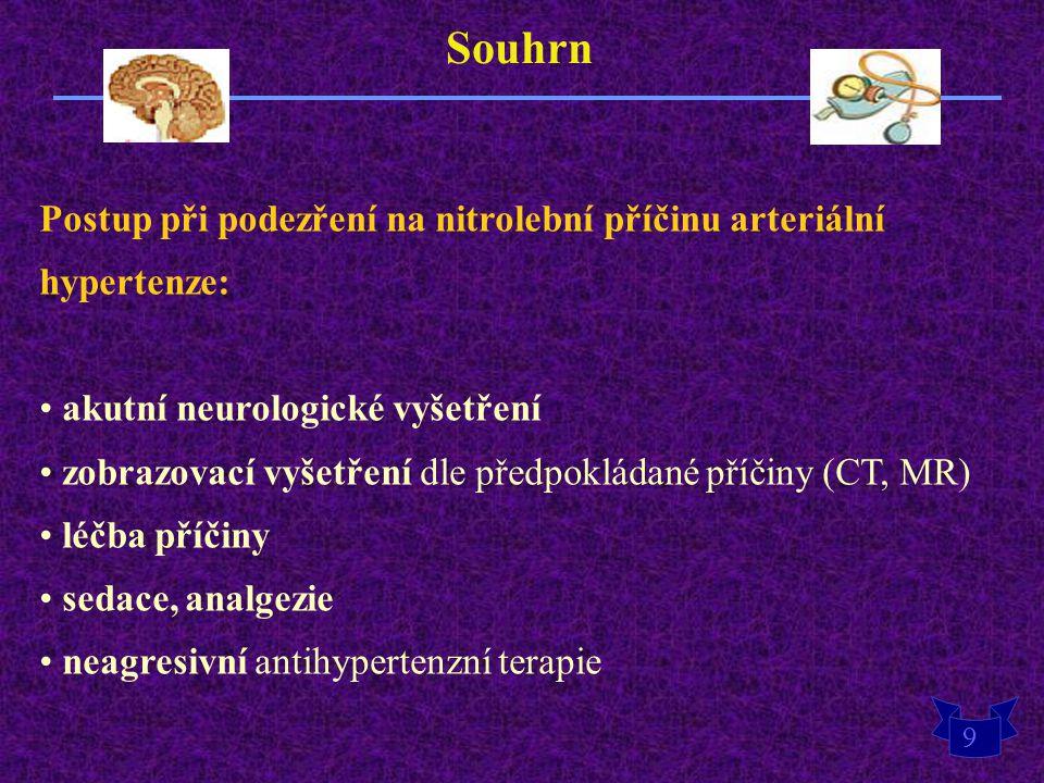 Souhrn Postup při podezření na nitrolební příčinu arteriální hypertenze: akutní neurologické vyšetření.