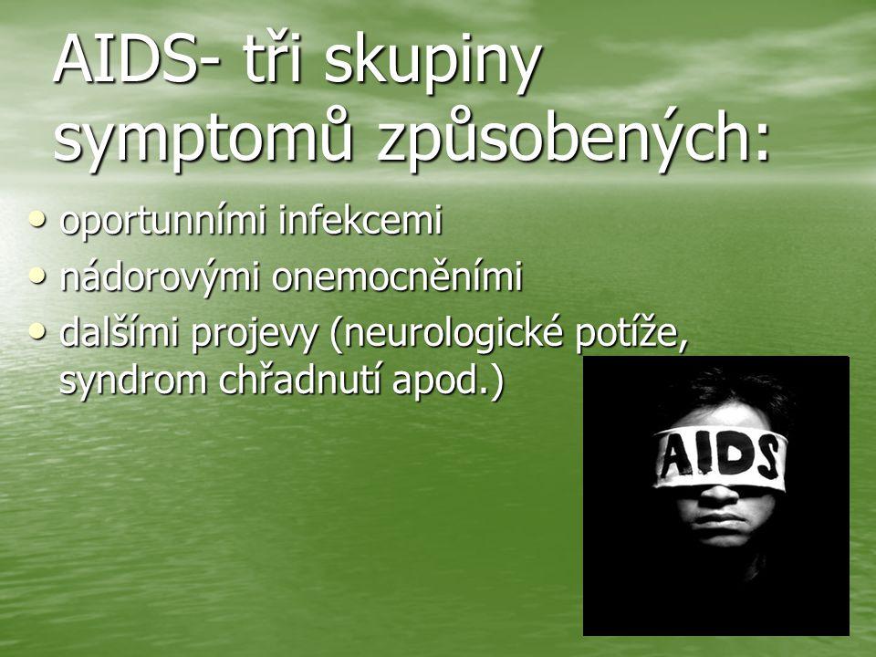 AIDS- tři skupiny symptomů způsobených: