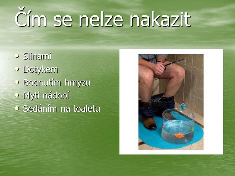Čím se nelze nakazit Slinami Dotykem Bodnutím hmyzu Mytí nádobí
