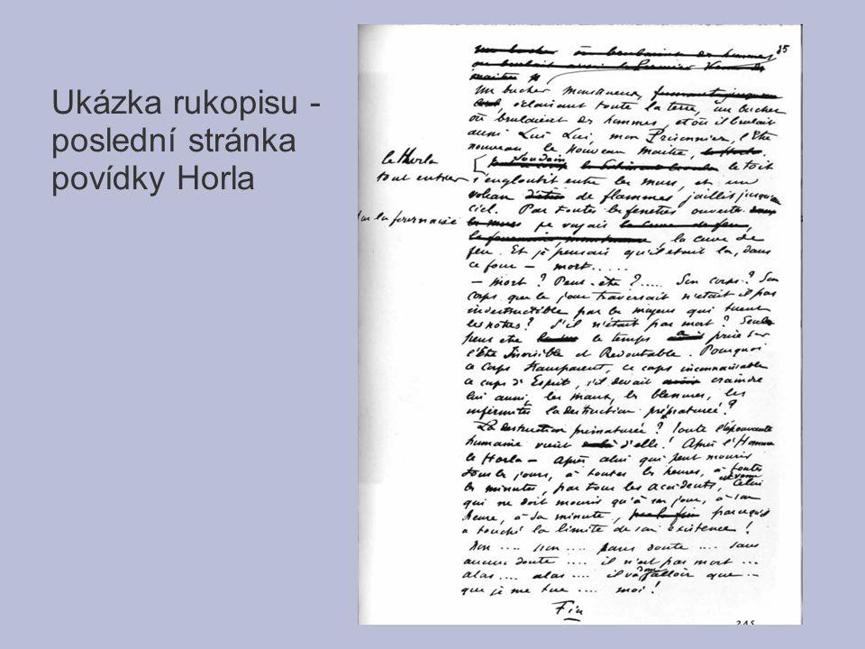 Ukázka rukopisu - poslední stránka povídky Horla
