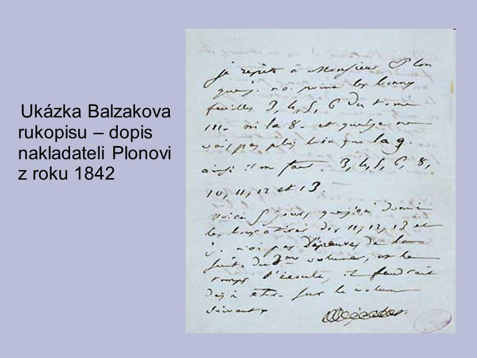 Ukázka Balzakova rukopisu – dopis nakladateli Plonovi z roku 1842