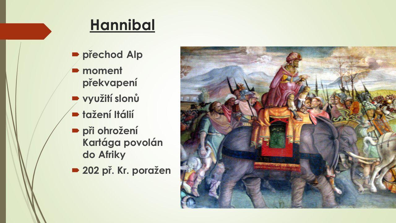 Hannibal přechod Alp moment překvapení využití slonů tažení Itálií