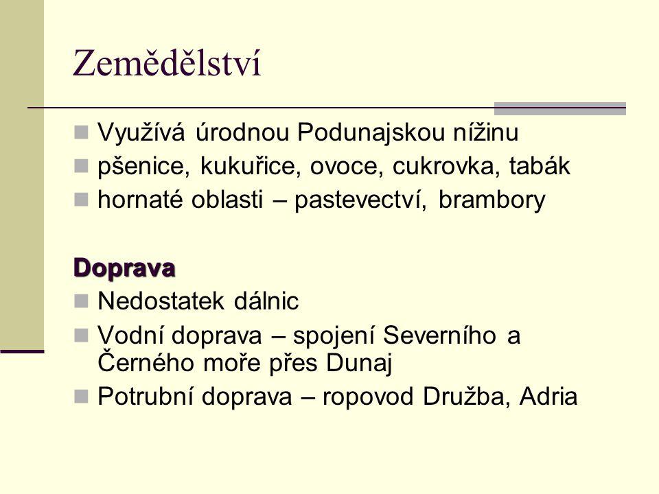 Zemědělství Využívá úrodnou Podunajskou nížinu