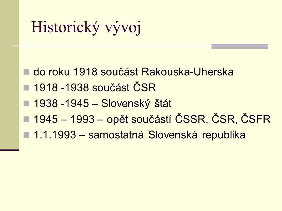 Historický vývoj do roku 1918 součást Rakouska-Uherska