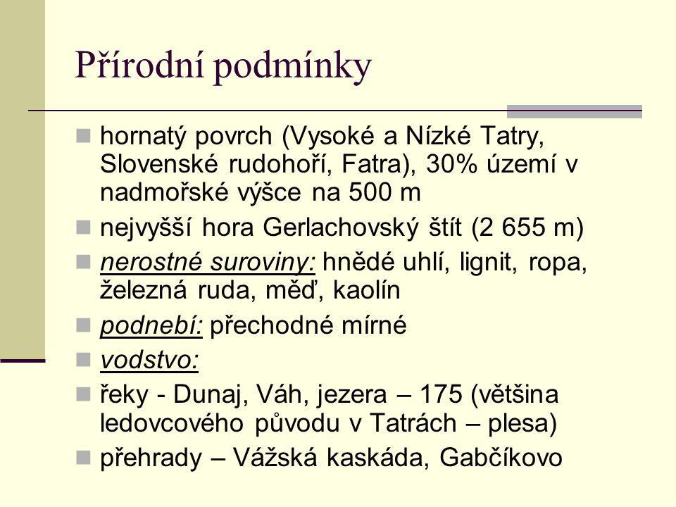 Přírodní podmínky hornatý povrch (Vysoké a Nízké Tatry, Slovenské rudohoří, Fatra), 30% území v nadmořské výšce na 500 m.