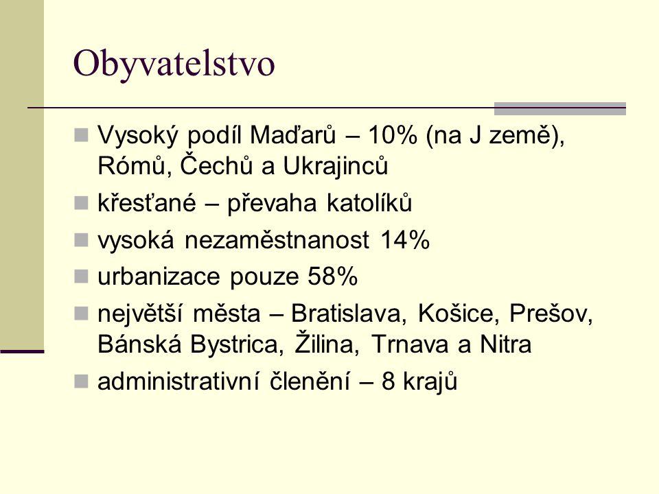 Obyvatelstvo Vysoký podíl Maďarů – 10% (na J země), Rómů, Čechů a Ukrajinců. křesťané – převaha katolíků.