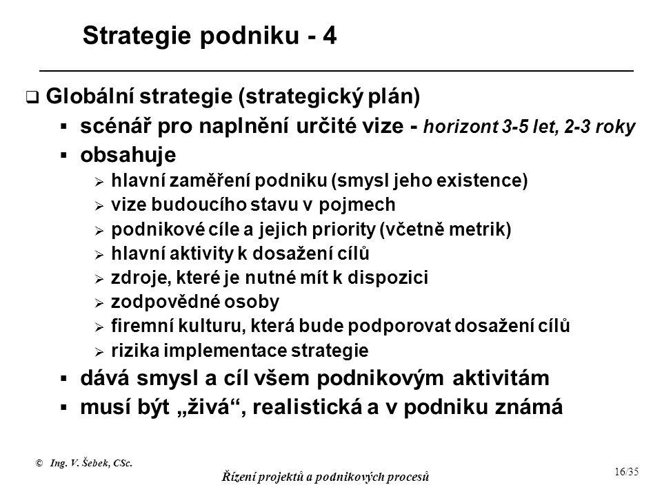 Strategie podniku - 4 Globální strategie (strategický plán)