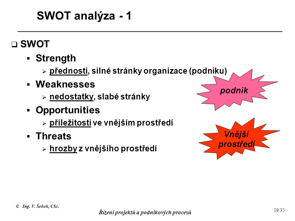 SWOT analýza - 1 SWOT Strength Weaknesses Opportunities Threats