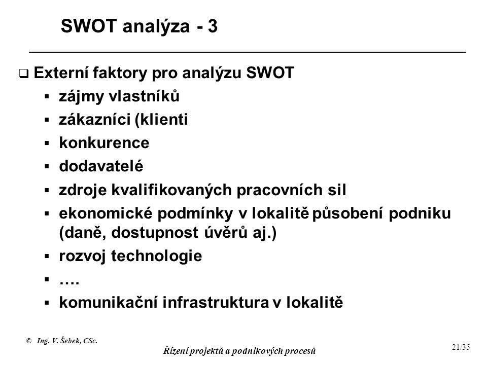 SWOT analýza - 3 Externí faktory pro analýzu SWOT zájmy vlastníků