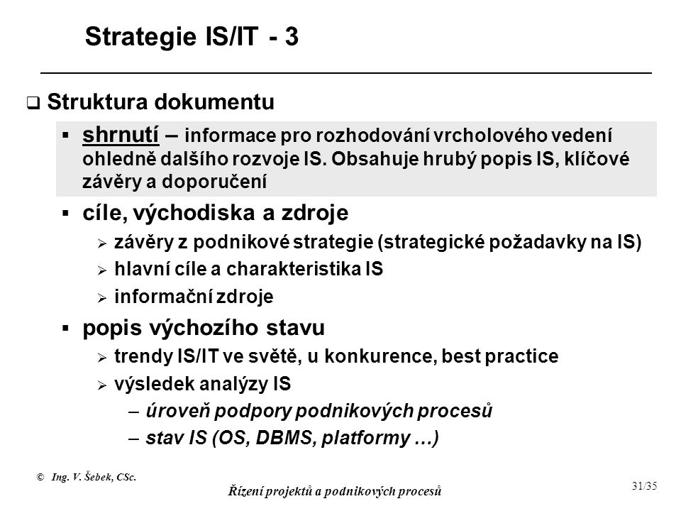 Strategie IS/IT - 3 Struktura dokumentu