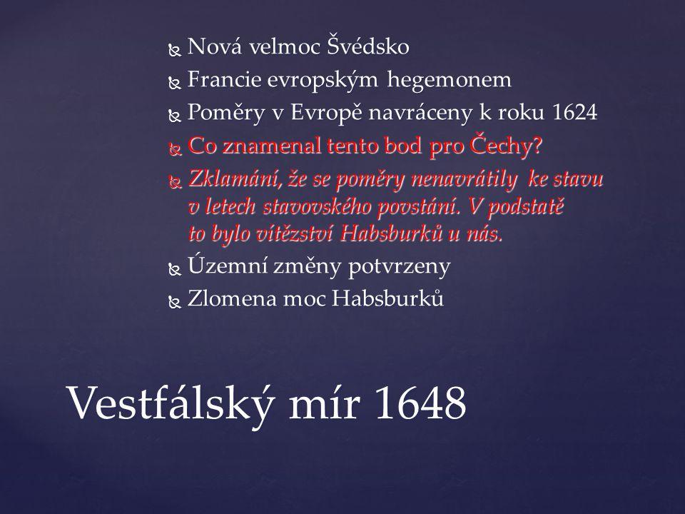 Vestfálský mír 1648 Nová velmoc Švédsko Francie evropským hegemonem