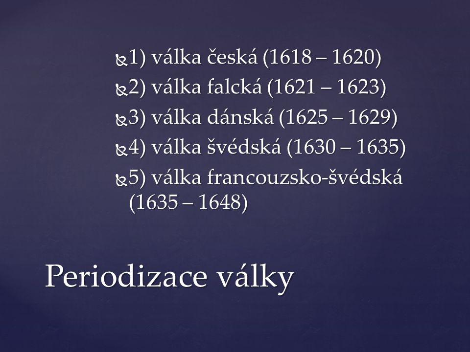 Periodizace války 1) válka česká (1618 – 1620)