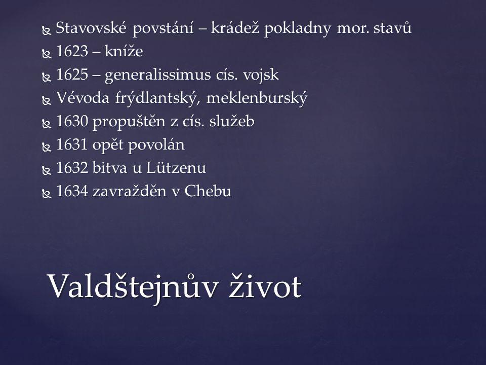 Valdštejnův život Stavovské povstání – krádež pokladny mor. stavů