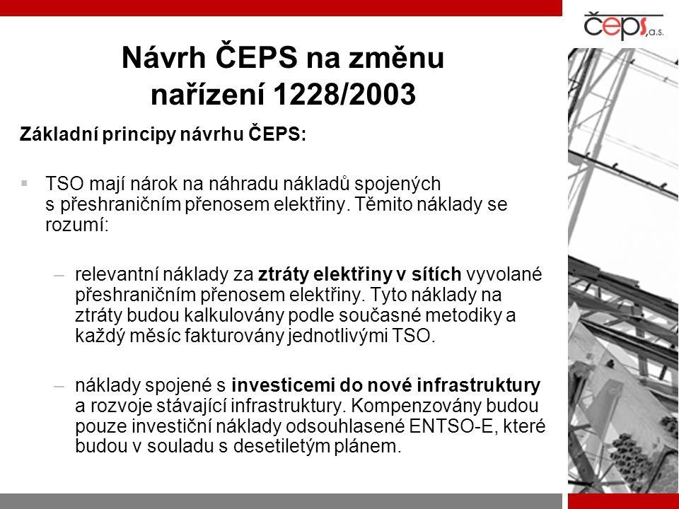 Návrh ČEPS na změnu nařízení 1228/2003
