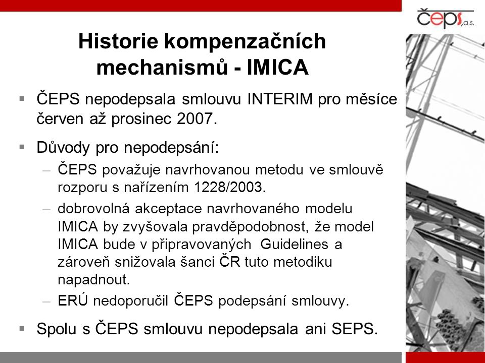 Historie kompenzačních mechanismů - IMICA