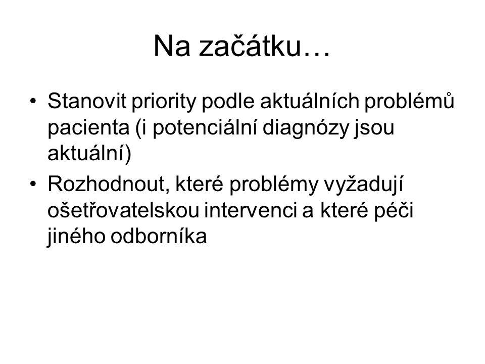 Na začátku… Stanovit priority podle aktuálních problémů pacienta (i potenciální diagnózy jsou aktuální)