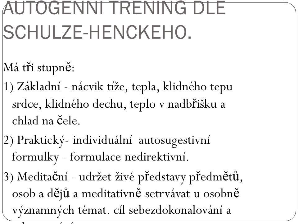 AUTOGENNÍ TRÉNING DLE SCHULZE-HENCKEHO.