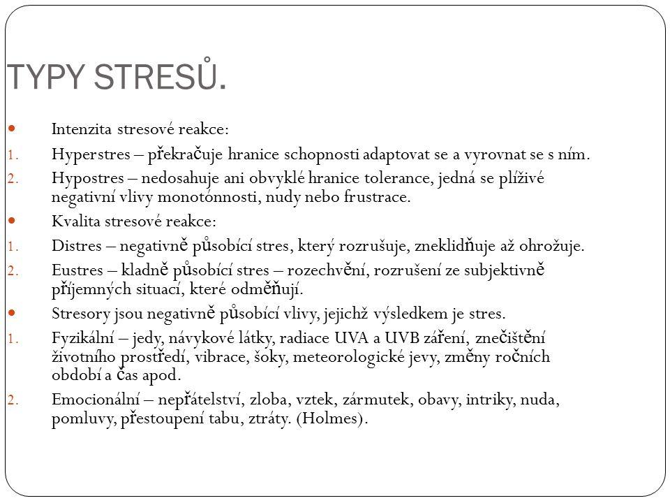 TYPY STRESŮ. Intenzita stresové reakce: