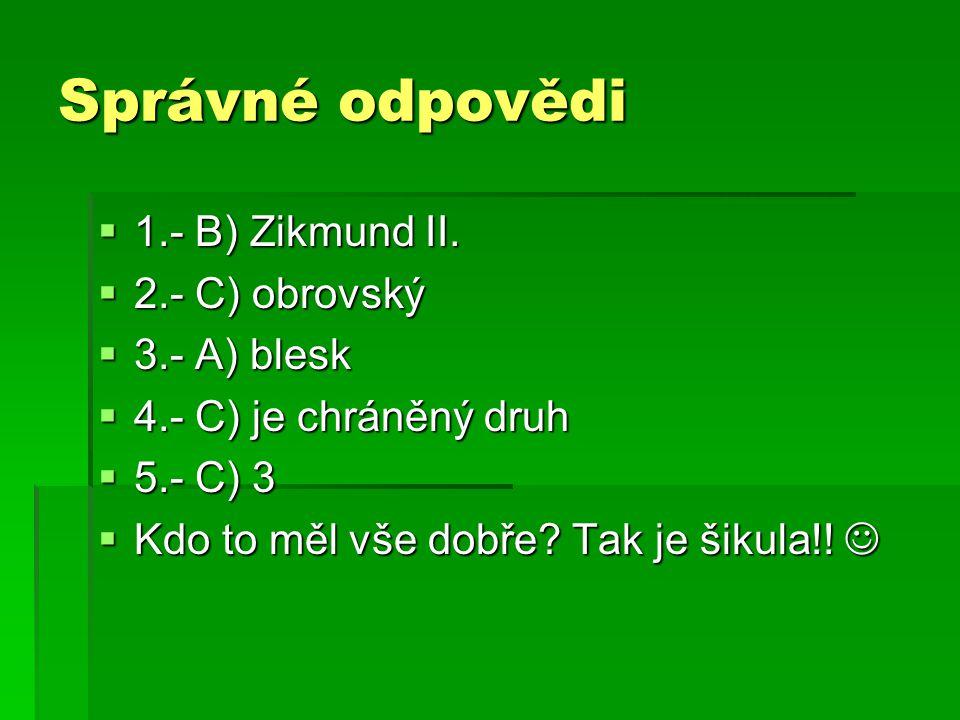Správné odpovědi 1.- B) Zikmund II. 2.- C) obrovský 3.- A) blesk