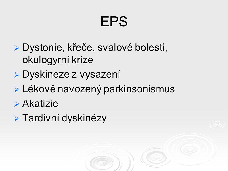 EPS Dystonie, křeče, svalové bolesti, okulogyrní krize