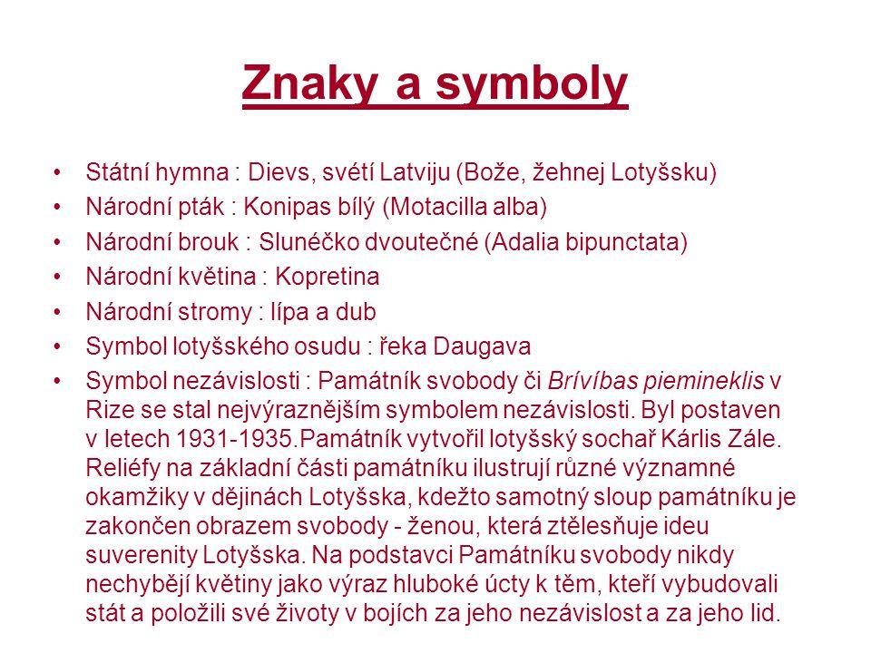 Znaky a symboly Státní hymna : Dievs, svétí Latviju (Bože, žehnej Lotyšsku) Národní pták : Konipas bílý (Motacilla alba)