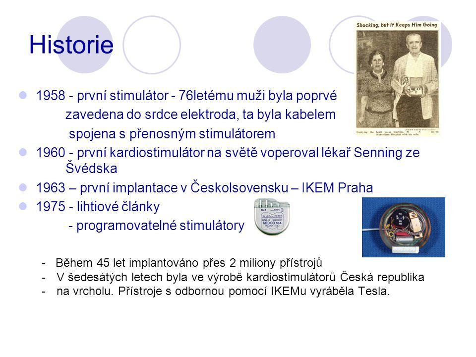 Historie 1958 - první stimulátor - 76letému muži byla poprvé