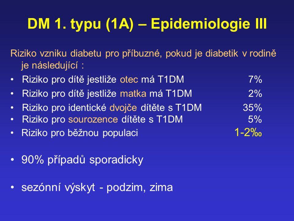 DM 1. typu (1A) – Epidemiologie III