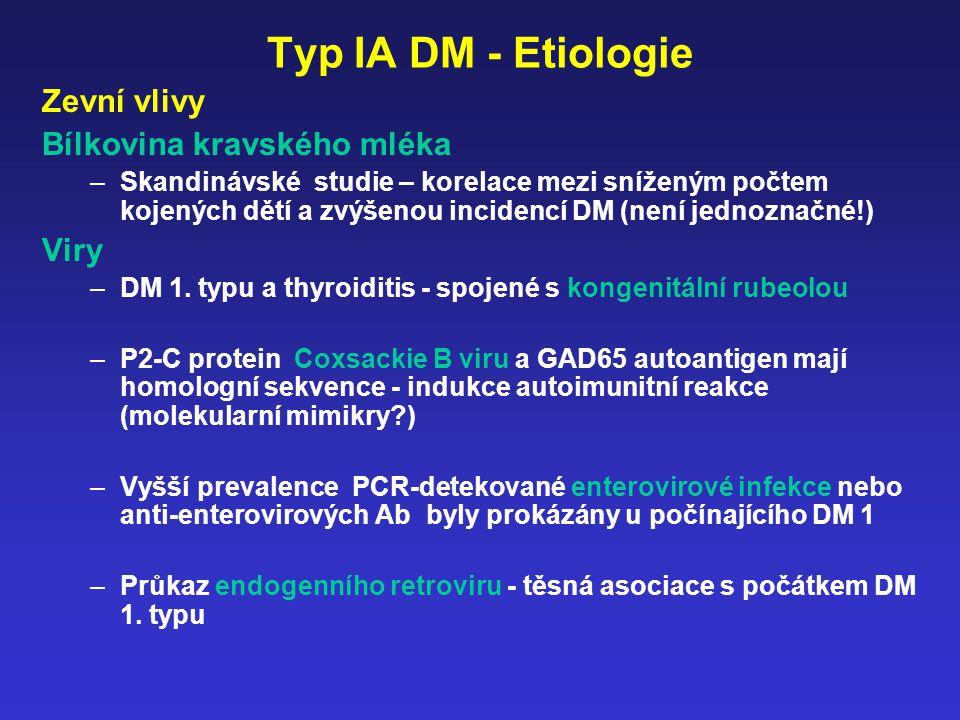 Typ IA DM - Etiologie Zevní vlivy Bílkovina kravského mléka Viry