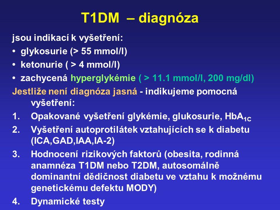T1DM – diagnóza jsou indikací k vyšetření: