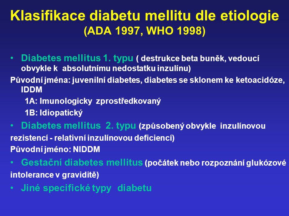 Klasifikace diabetu mellitu dle etiologie (ADA 1997, WHO 1998)