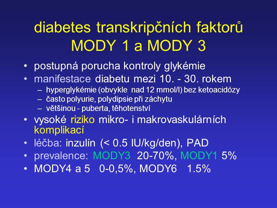diabetes transkripčních faktorů MODY 1 a MODY 3