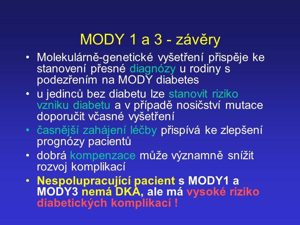 MODY 1 a 3 - závěry Molekulárně-genetické vyšetření přispěje ke stanovení přesné diagnózy u rodiny s podezřením na MODY diabetes.