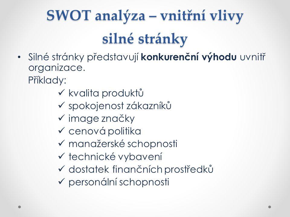 SWOT analýza – vnitřní vlivy silné stránky