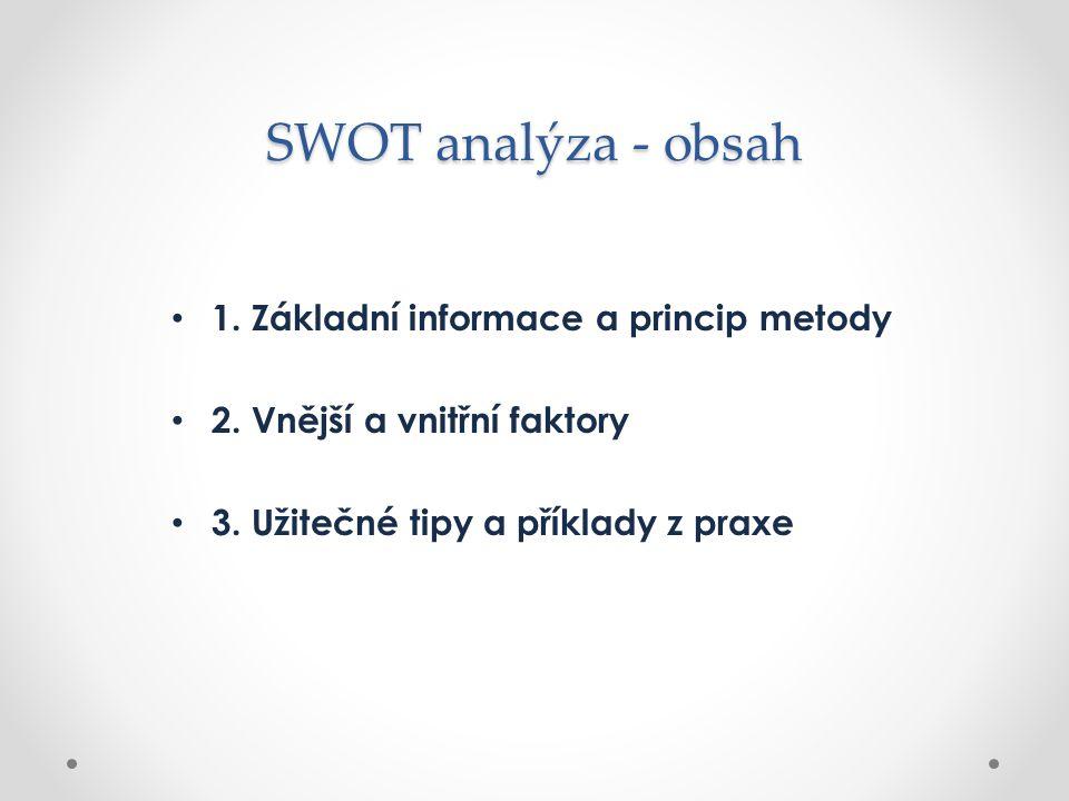 SWOT analýza - obsah 1. Základní informace a princip metody
