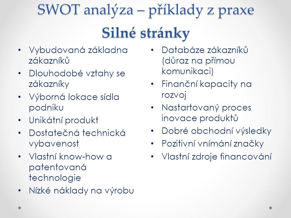 SWOT analýza – příklady z praxe Silné stránky