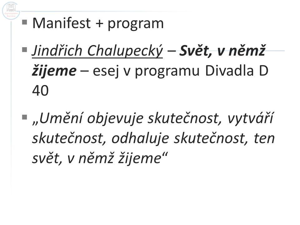 Manifest + program Jindřich Chalupecký – Svět, v němž žijeme – esej v programu Divadla D 40.