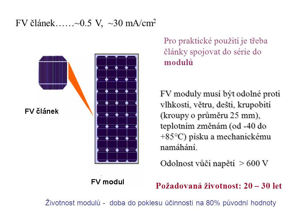 FV článek……~0.5 V, ~30 mA/cm2 Pro praktické použití je třeba články spojovat do série do modulů.