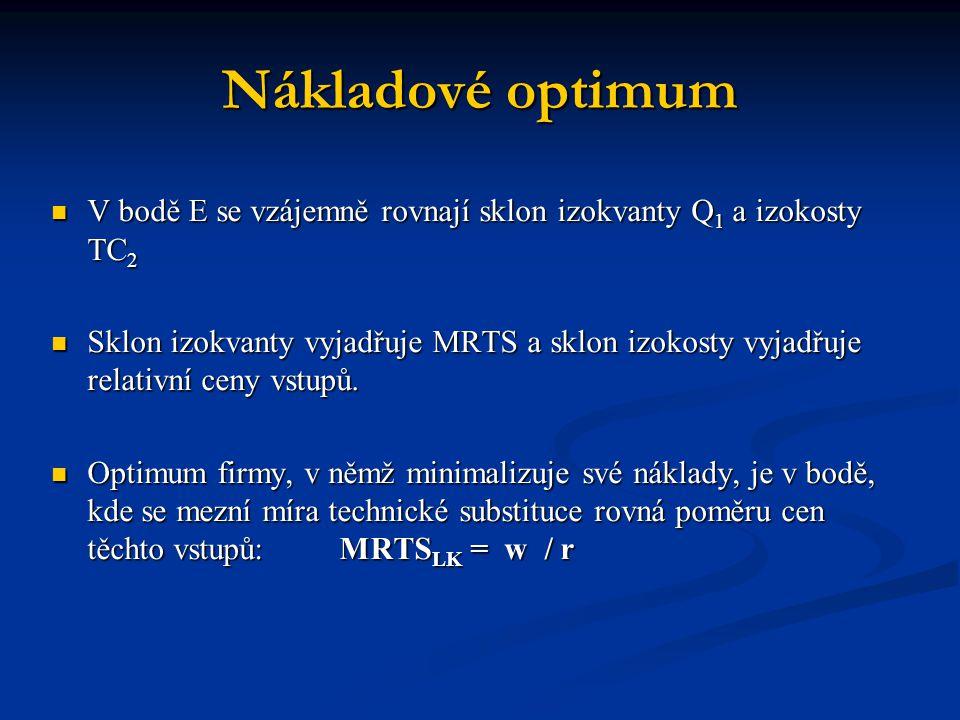 Nákladové optimum V bodě E se vzájemně rovnají sklon izokvanty Q1 a izokosty TC2.