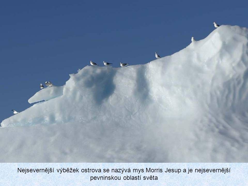 Nejsevernější výběžek ostrova se nazývá mys Morris Jesup a je nejsevernější pevninskou oblastí světa