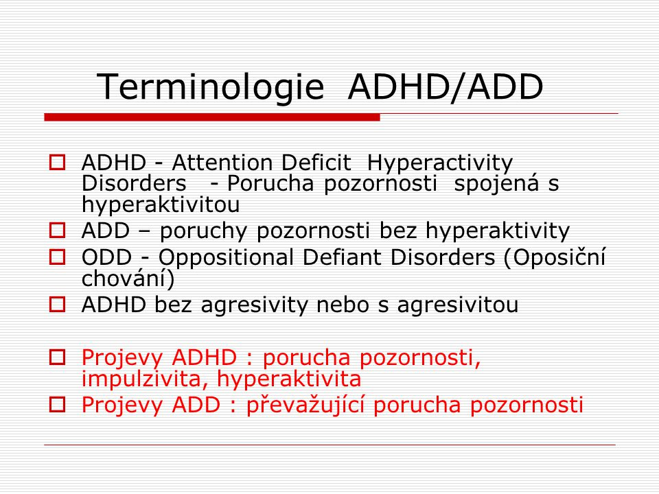 Terminologie ADHD/ADD
