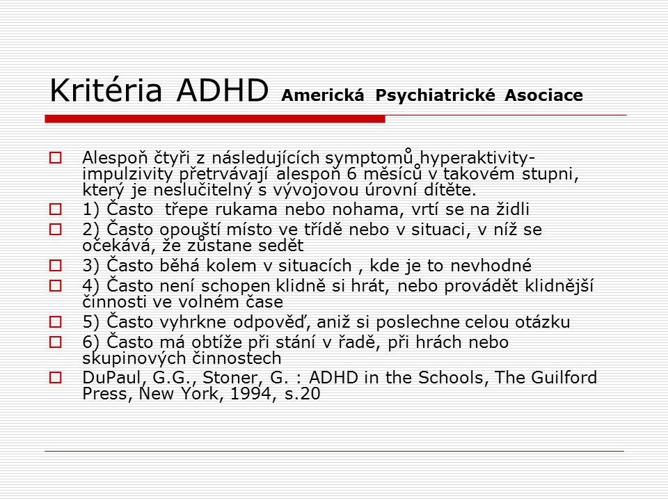 Kritéria ADHD Americká Psychiatrické Asociace