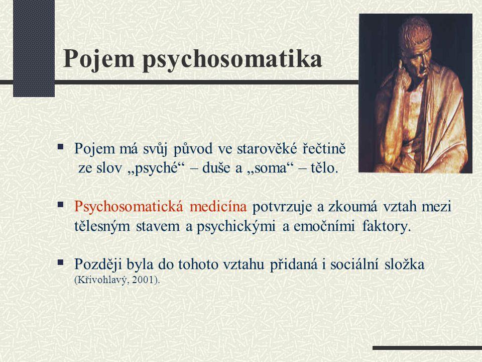Pojem psychosomatika Pojem má svůj původ ve starověké řečtině