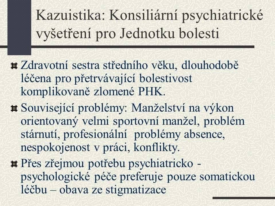 Kazuistika: Konsiliární psychiatrické vyšetření pro Jednotku bolesti