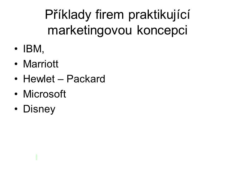 Příklady firem praktikující marketingovou koncepci