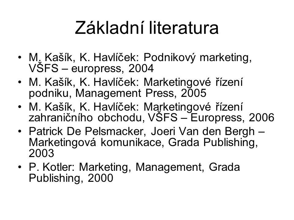 Základní literatura M. Kašík, K. Havlíček: Podnikový marketing, VŠFS – europress, 2004.