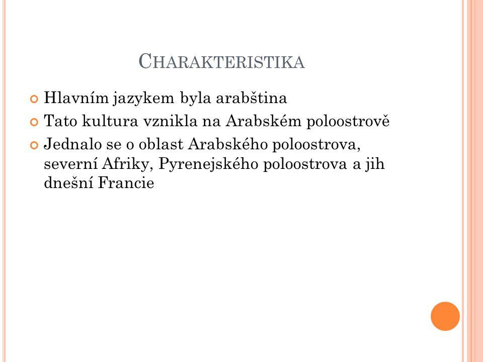 Charakteristika Hlavním jazykem byla arabština