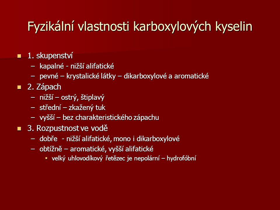 Fyzikální vlastnosti karboxylových kyselin