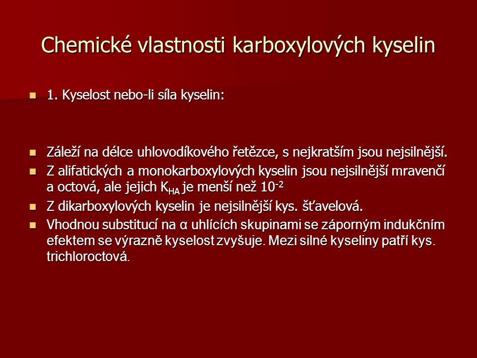 Chemické vlastnosti karboxylových kyselin
