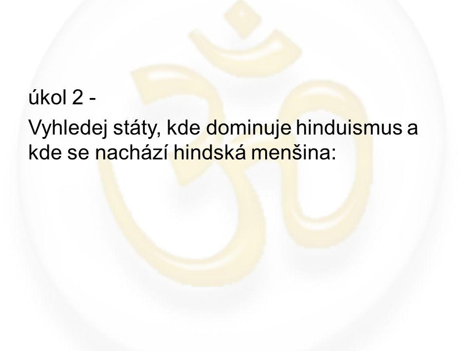 úkol 2 - Vyhledej státy, kde dominuje hinduismus a kde se nachází hindská menšina: